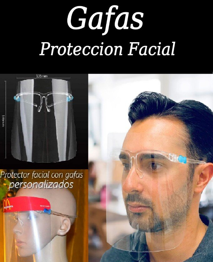 escudo facial con gafas por mayor